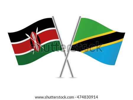 Kenyan and Tanzania flags. Vector illustration.