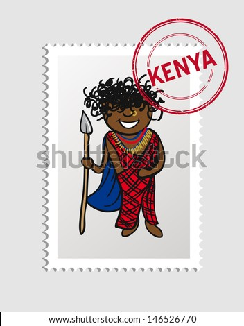 Kenyan person cartoon with Kenia postal stamp. Vector illustration layered for easy editing. - stock vector