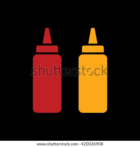 Ketchup and mustard squeeze bottle icon vector illustration. Black background