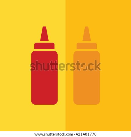 Ketchup and mustard squeeze bottle icon. Yellow background