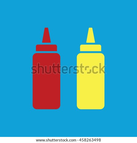 Ketchup and mustard squeeze bottle vector icon. Blue background