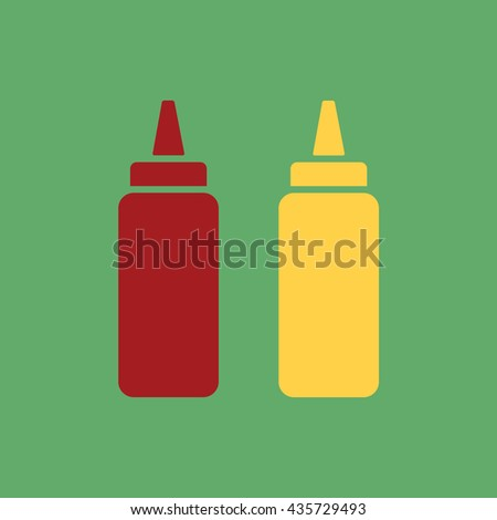 Ketchup and mustard squeeze bottle vector icon illustration
