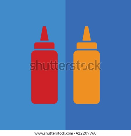 Ketchup and mustard squeeze bottle vector icon illustration. Blue background
