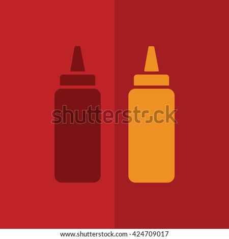 Ketchup and mustard squeeze bottle vector icon illustration. Red background