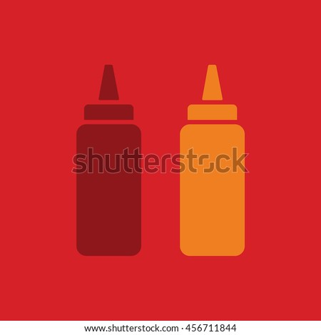 Ketchup and mustard squeeze bottle vector illustration. Red background