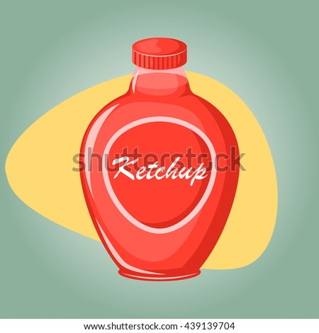 Ketchup colorful icon. Vector illustration in cartoon style - stock vector