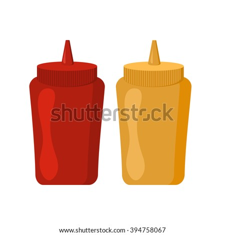 Ketchup mustard bottles with spicy delicious sauce vector icon. Bottles and spilled sauces of tomato ketchup, mustard ingredient container. Ketchup and mustard, red yellow spicy bottle.