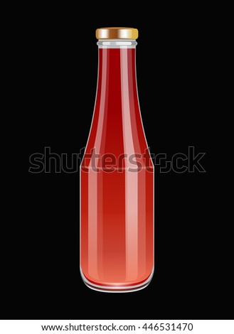 Ketchup on glass bottle. Tomato sauce. Vector illustration.