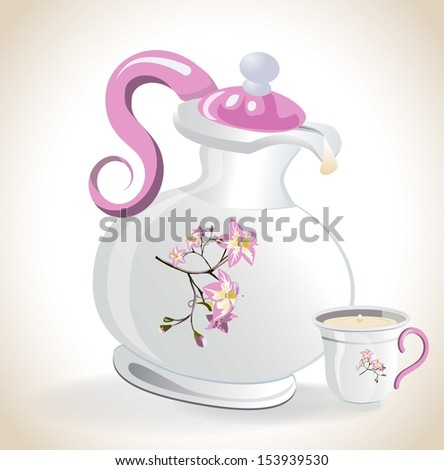 Kettle and cup of milk - stock vector