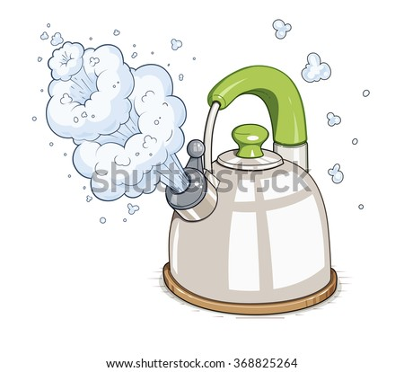 Kettle boil. Vector illustration. Isolated on white background. Transparent objects used for lights and shadows drawing - stock vector