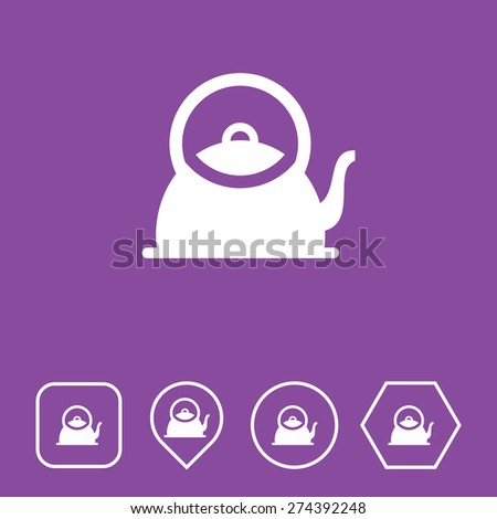 Kettle Icon on Flat UI Colors with Different Shapes. Eps-10. - stock vector