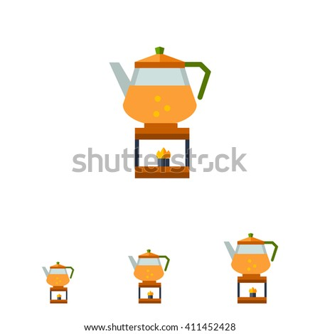 Kettle on burner flat icon