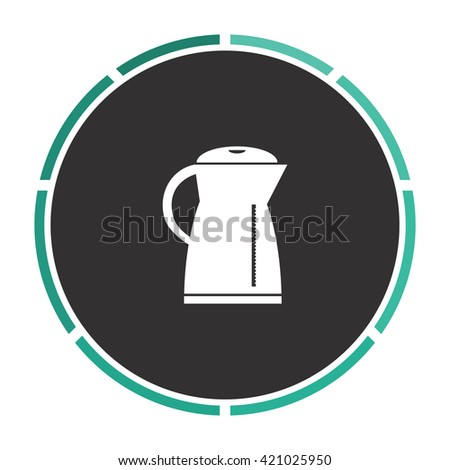 Kettle Simple flat white vector pictogram on black circle. Illustration icon