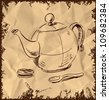 Kettle, spoon and biscuit icon isolated on vintage background. Hand drawing sketch vector illustration - stock vector