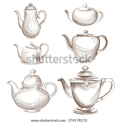 Kettles set. Teapots silhouette collection. Coffee pot isolated. - stock vector