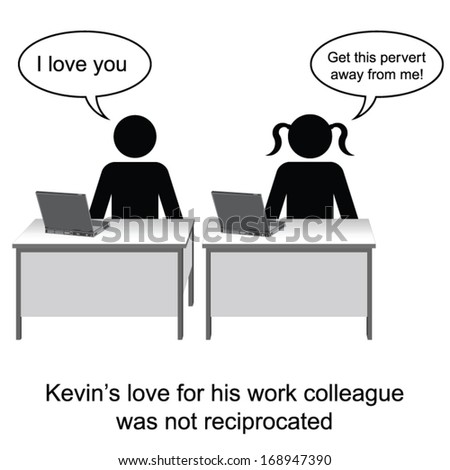 Kevin fell in love at work cartoon isolated on white background  - stock vector