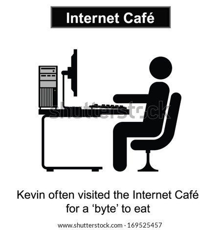 Kevin visits the Internet Cafe cartoon isolated on white background