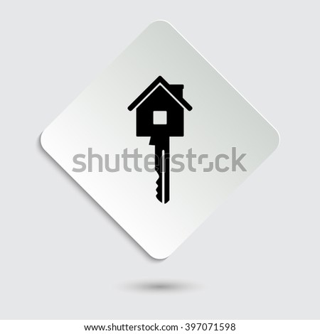Key - black vector icon  on a paper button