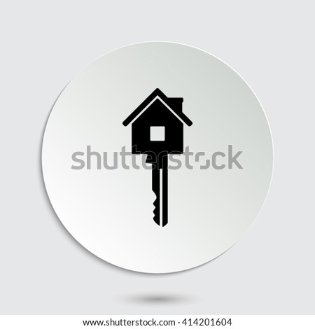 Key - black vector icon  with shadow