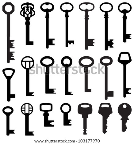 Key collection (old and new) - vector silhouette - stock vector