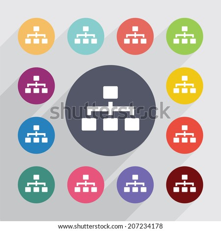 key, flat icons set. Round colorful buttons. Vector - stock vector