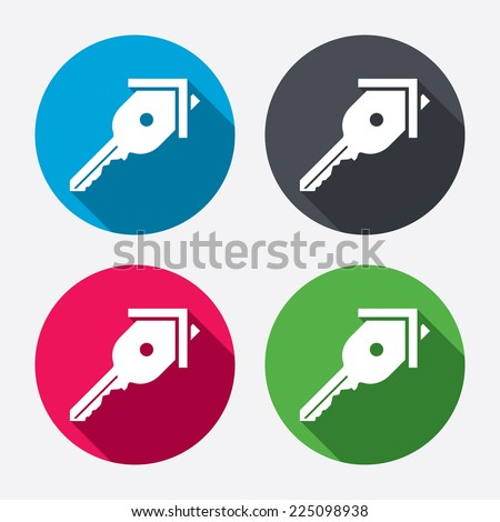 Key from the house sign icon. Unlock tool symbol. Circle buttons with long shadow. 4 icons set. Vector - stock vector