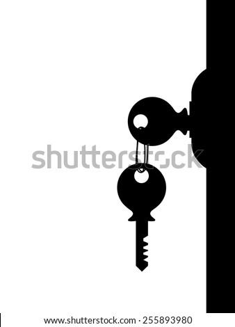 Key hanging on the door - stock vector