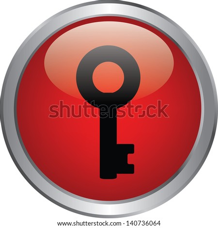 key icon on red circle button - stock vector