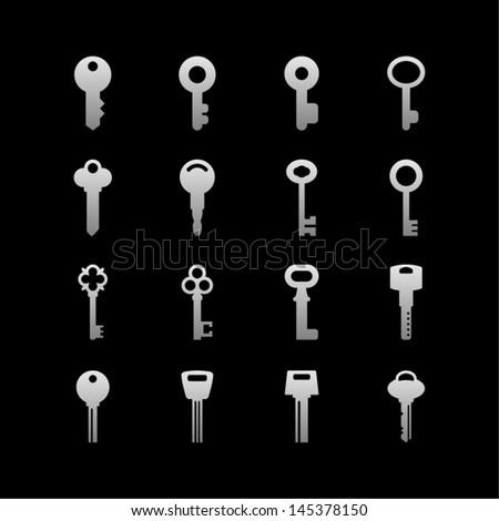 Key icon set - stock vector