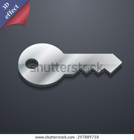 key icon symbol. 3D style. Trendy, modern design with space for your text Vector illustration - stock vector