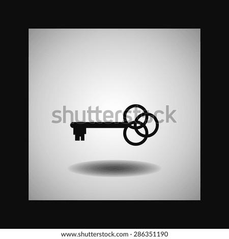 Key  icon, vector illustration. Flat design style - stock vector