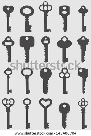 Key icons set.Vector - stock vector