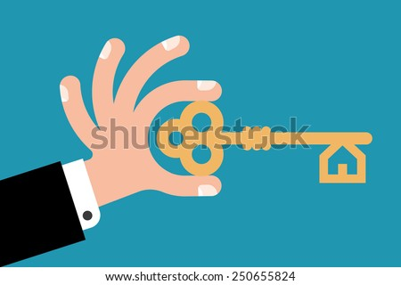 key in hand to open the lock - stock vector