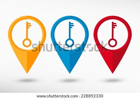 Key map pointer, vector illustration. Flat design style  - stock vector