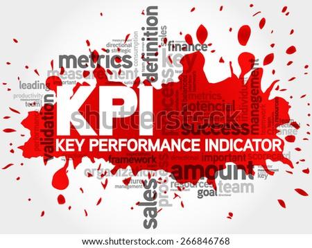 Key Performance Indicators word collage, KPI Business Concept, presentation background - stock vector