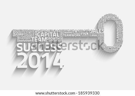 key success with business words, creative vector idea, 2014 concept - stock vector