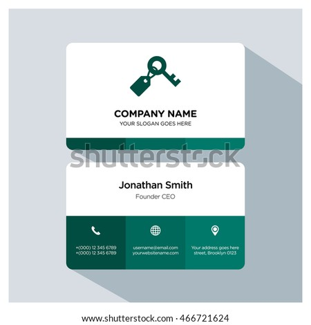 Key tag icon. Business card template