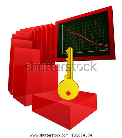 key to break negative business results vector illustration - stock vector