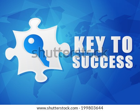 key to success and puzzle piece with key sign - white text with symbol over blue world map background, flat design, business creative concept, vector - stock vector