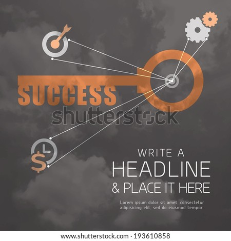 Key to Success business concept background design - stock vector
