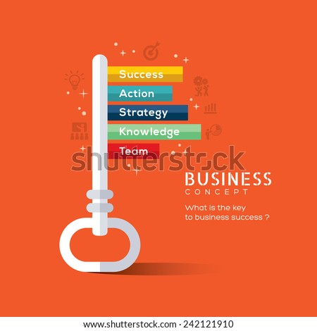 Key to success flat design concept vector illustration - stock vector