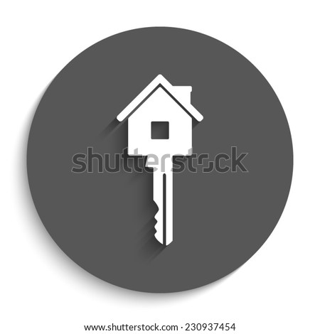 Key - vector icon with shadow on a round grey button