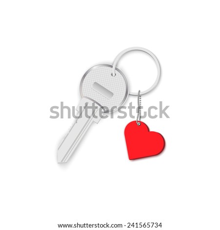 key with heart on chain isolated on white background