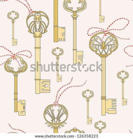 Key with lace seamless pattern. Vector illustration