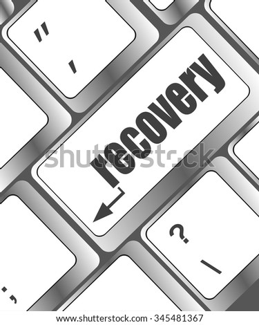 key with recovery text on laptop keyboard button vector illustration