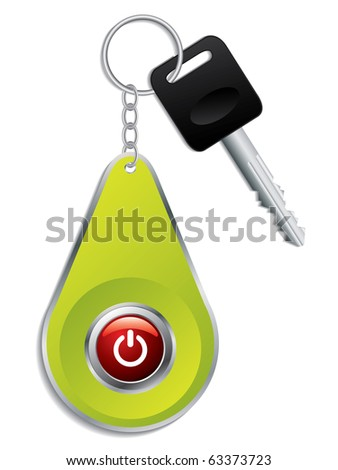 Key with red colored button on remote - stock vector