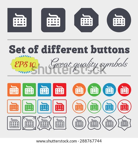 keyboard icon sign. Big set of colorful, diverse, high-quality buttons. Vector illustration - stock vector