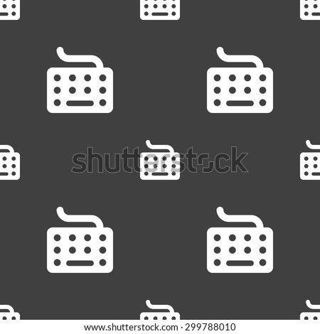 keyboard icon sign. Seamless pattern on a gray background. Vector illustration - stock vector