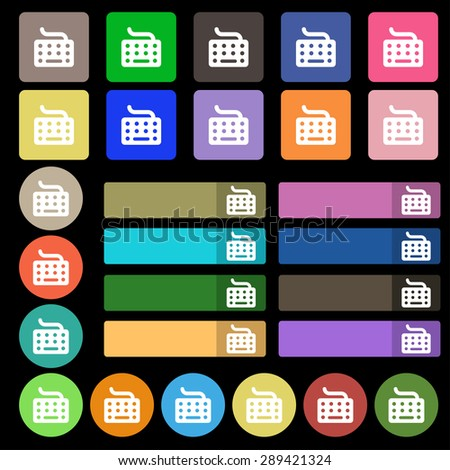 keyboard icon sign. Set from twenty seven multicolored flat buttons. Vector illustration - stock vector