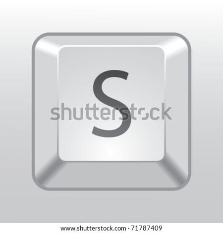 keyboard key s - stock vector